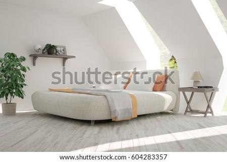 White bedroom with green landscape in window. Scandinavian interior design. 3D illustration #604283357