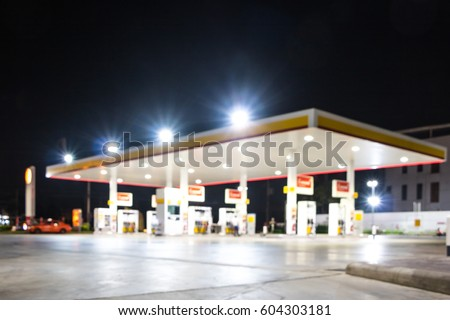 The Atmosphere Lighting Blurred in Gas station at night #604303181