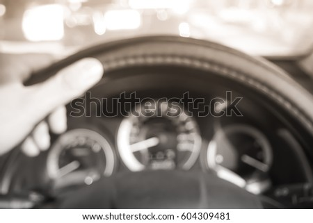Picture blurred  for background abstract and can be illustration to article of hand drive wheel car #604309481