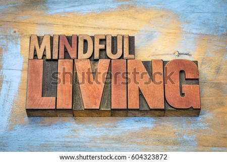 mindful living word abstract in letterpress wood type against grunge wooden background #604323872