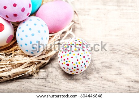 Decoration Easter Eggs with copy space. Happy Easter
