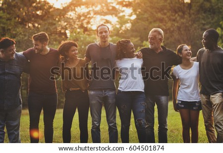 Happiness group of people huddle and smiling together #604501874