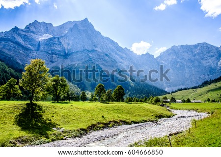 karwendel mountains in austria - small valley called eng alm #604666850
