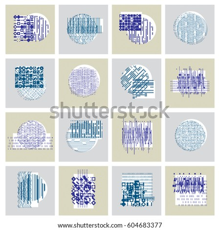 Vector geometric compositions set, abstract graphic arts collection. #604683377