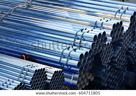 Cylindrical steel pipe, Cylindrical metal pipes, they used a loaded, The sun shining metal pipes, The sun shining metal pipes #604711805