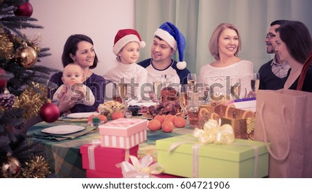 family gathering together for Christmas celebration at home #604721906