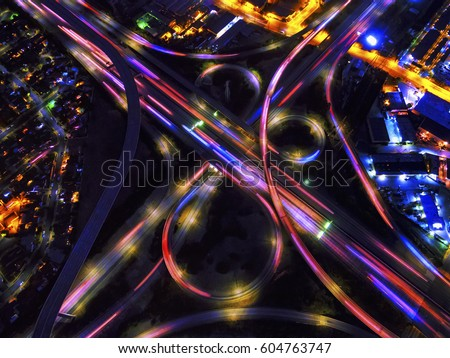 Infinity Intersection, an aerial view of the freeways in Los Angeles,