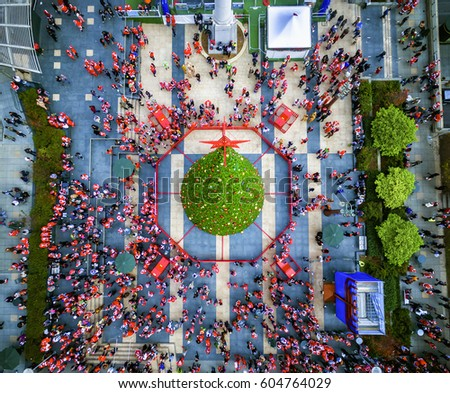 SantaCon parade in 2015, Aerial view over Union Square in San Francisco,