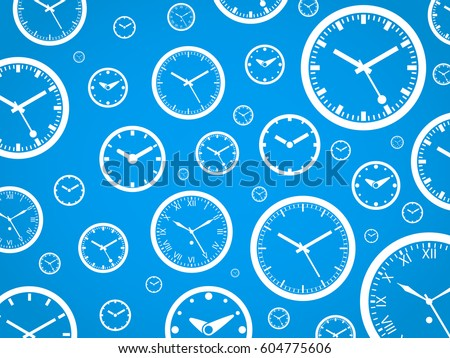 Clock Background - White On Blue - Outline Vector Illustration. Time theme. Simplified Lines Design.