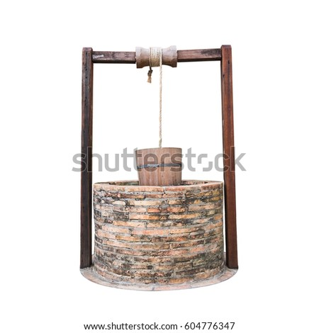 Traditional chinese water well With Pulley and Bucket isolated on white background, Clipping paths included #604776347