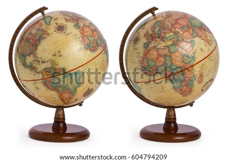 vintage / antique / retro terrestrial globe showing both sides of the world - America and Europe as well as the African continent, isolated on a white background #604794209