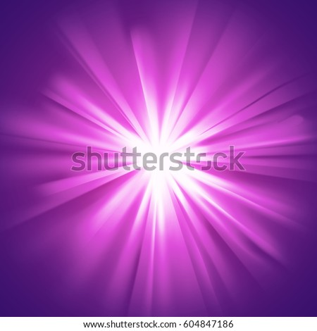 Purple glowing light. Bright shining star. Bursting explosion. Transparent graphic design element. Colorful gradient rays. Glaring transparency effect. Abstract glowing sparkle. Vector illustration