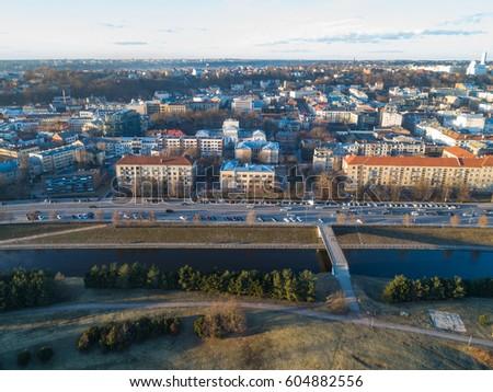 KAUNAS, LITHUANIA, 15 March, 2017: Aerial view image of Kaunas.  #604882556