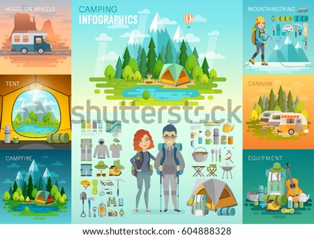 Camping Infographic, mountaineering, caravan, house on weels, equipment. Vector illustration.