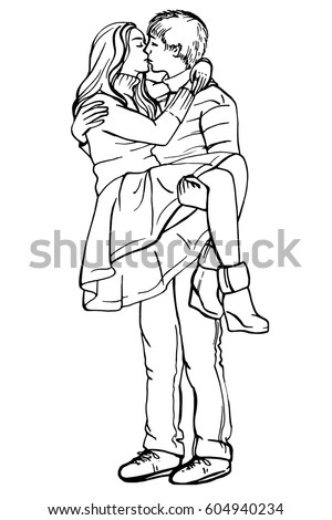 Young couple in love.Sensual Ink sketch portrait of young stylish couple. Embraces of a loving couple, couple hugging and flirting, kissing. Hand drawn illustration. #604940234
