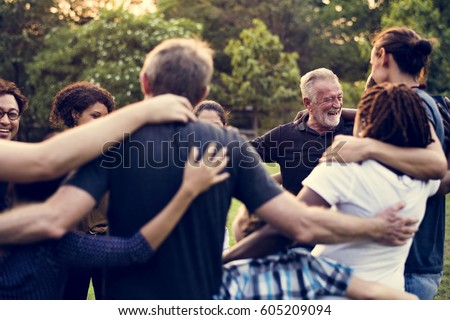 Group of people support unity arm around together Royalty-Free Stock Photo #605209094