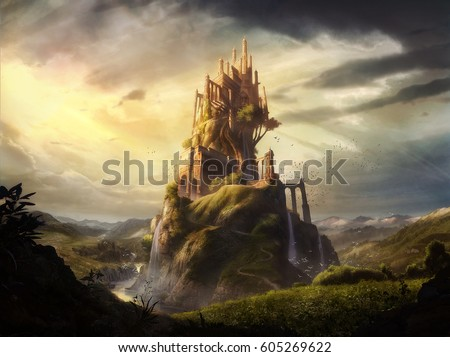 digital illustrated of dreamy castle palace tower fortress in nature kingdom landscape