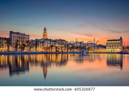 Split. Beautiful romantic old town of Split during beautiful sunrise. Croatia,Europe. Royalty-Free Stock Photo #605326877