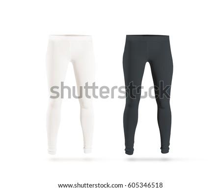 Blank leggings mockup set, black, white, isolated. Clear leggins template. Cloth pants design presentation. Sport pantaloons stretch tights model wearing. Slim legs in apparel. #605346518