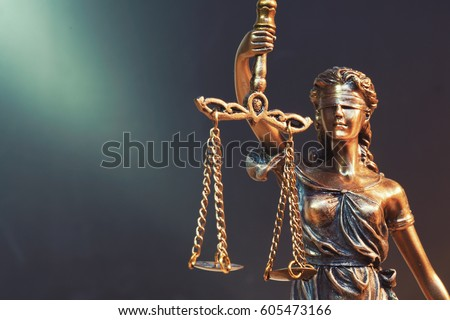 The Statue of Justice - lady justice or Iustitia / Justitia the Roman goddess of Justice #605473166