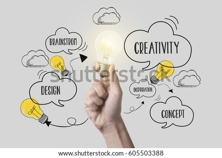 business hand holding lightbulb. concept for new ideas with innovation and creativity.