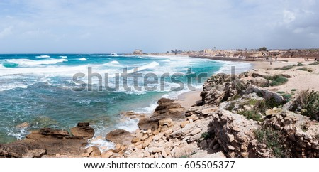 Small storm on the Mediterranean Sea on the port of Caesarea in the old town in Israel #605505377