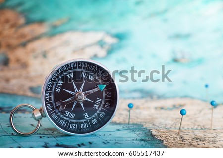Compass on map.  #605517437