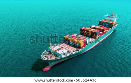 container,container ship in import export and business logistic,By crane ,Trade Port , Shipping,cargo to harbor, Aerial view,Water transport,International,Shell Marine,transportation,logistic #605524436