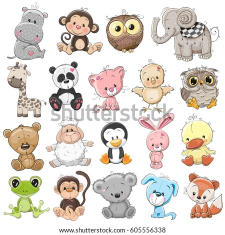 Set of Cute Animals on a white background Royalty-Free Stock Photo #605556338