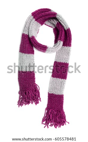 Knitted scarf on a white background. #605578481