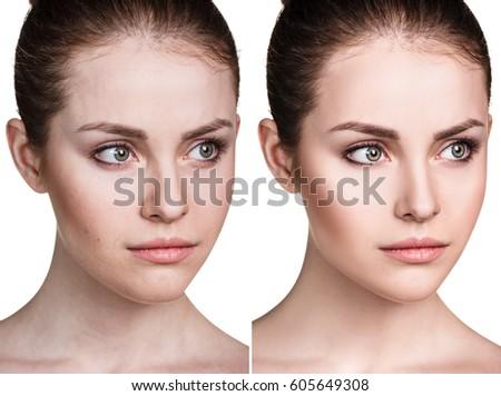 Comparison portrait of young woman. #605649308