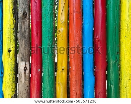 Rainbow color of wooden fence for summer background #605671238