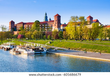 CRACOW, POLAND - APRIL 25, 2016: Wawel Castle on sunny day in Cracow, Poland #605686679