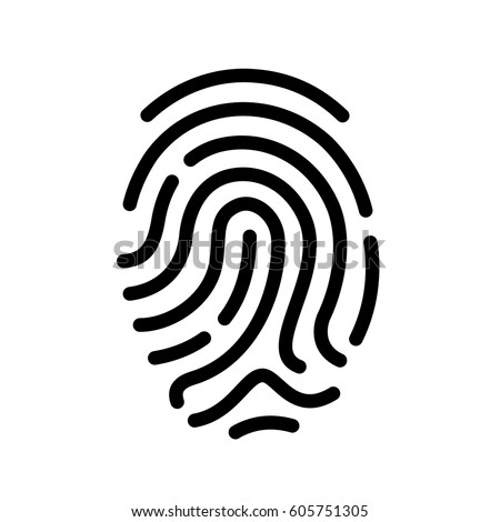 Finger print vector icon illustration isolated on white background Royalty-Free Stock Photo #605751305