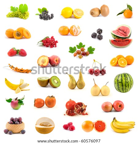 Big collection of fruits on a white background #60576097
