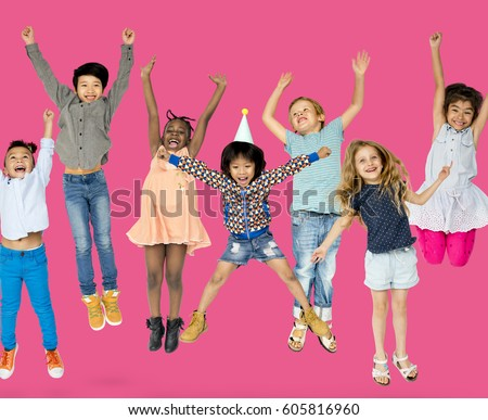 Diverse Group Of Kids Jumping and Having Fun #605816960