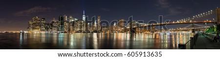 Lower Manhattan skyline panorama at night