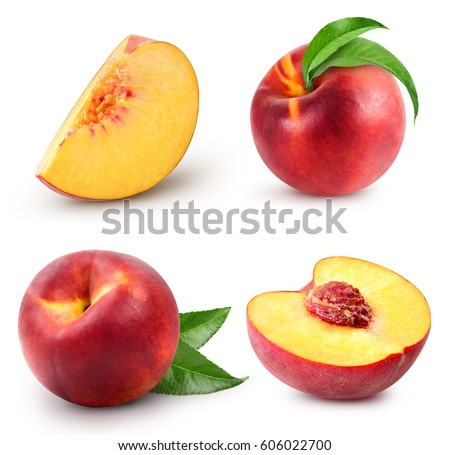 peach fruits collection with green leaf isolated on white background #606022700
