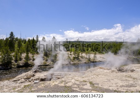 geyser and lakes in Yellowstone national Park #606134723