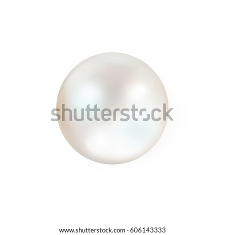 Single white natural oyster pearl with nacre mother of pearl outer isolated on white background