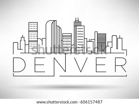 Minimal Denver Linear City Skyline with Typographic Design