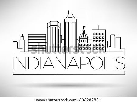Minimal Indianapolis Linear City Skyline with Typographic Design