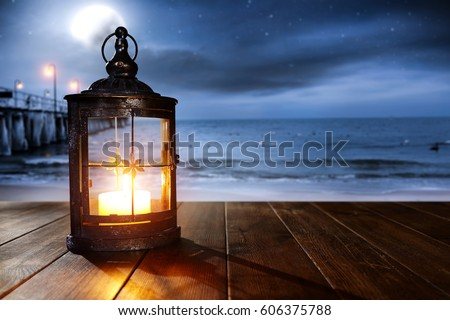 wooden desk with lamp and summer time  #606375788