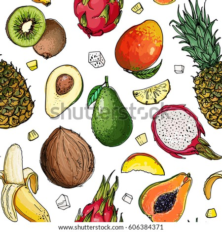 Pattern. Fresh food. Watermelon, cantaloupe, pomegranate, apricot, persimmon line drawn on a white background. Vector illustration. #606384371