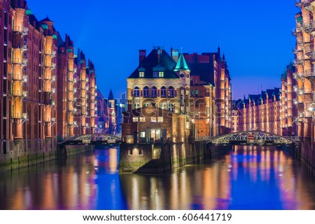 Old Speicherstadt in Hamburg illuminated ,Hamburg - Germany #606441719