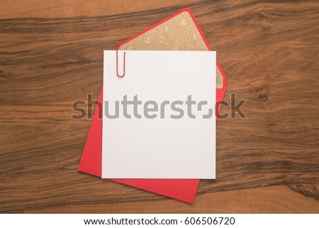 Envelope on a wood table