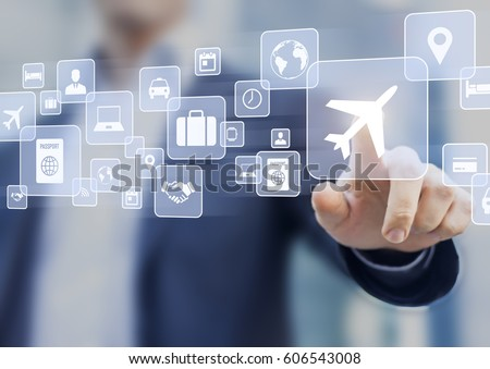 Business trip concept with a businessman touching a button on a screen with icons about travel planning, transportation, hotel, flight and passport