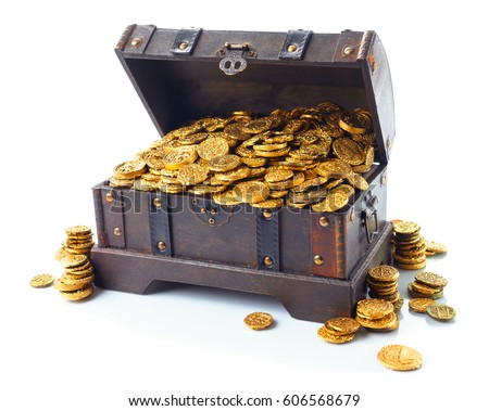 Open treasure chest filled with gold coins isolated on white #606568679