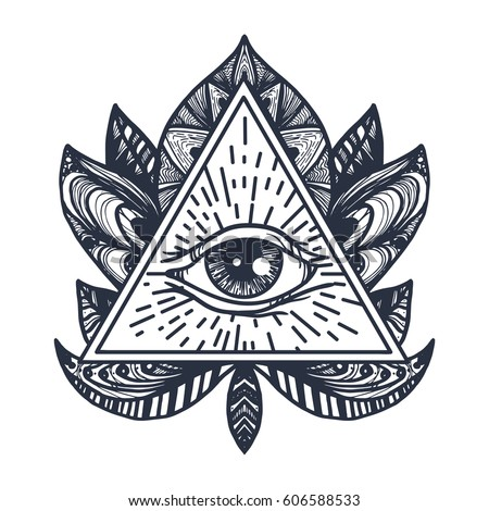 Vintage All Seeing Eye in Mandala Lotus. Providence magic symbol for print, tattoo, coloring book,fabric, t-shirt, cloth in boho style. Astrology, occult, esoteric insight sign with eye. Vector #606588533