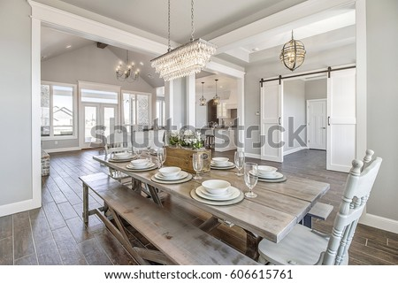 Modern New Kitchen Table Picnic Style Royalty-Free Stock Photo #606615761